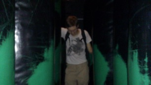 Jack stumbles and falls in the inflatable cushion tunnel